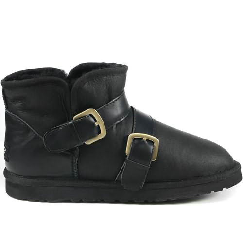 Classic Mini 1058 Leather Ugg Boots - Balck