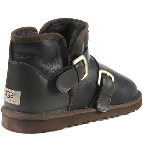 Classic Mini 1058 Leather Ugg Boots - Chocolate
