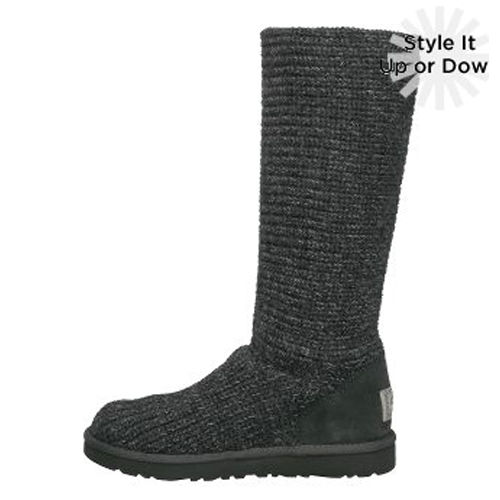 Classic Cardy S/N 1876 Metallic Knit Ugg Boots - Gray