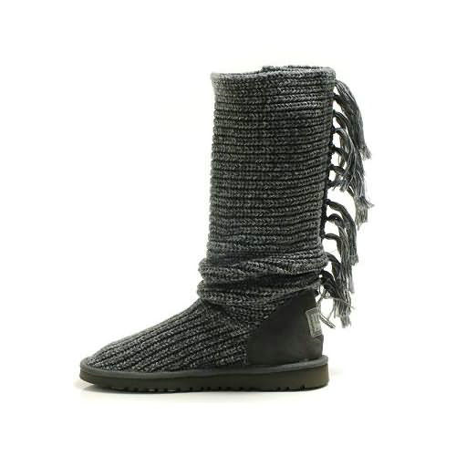 Fringe Cardy 1878 Knit Ugg Boots - Gray