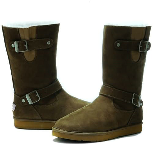 Kensington S N Model 5678 Leather Ugg Boots - Olive