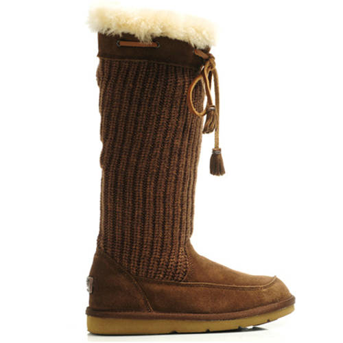 Suburb Crochet 5733 Knit Boots - Chocolate