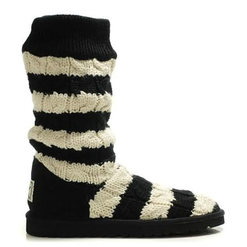 Stripe Cable 5822 Knit Ugg Boots - Black