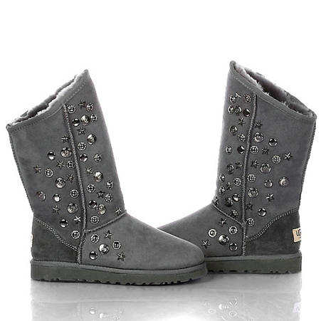 Jimmy Choo Studded 5838 Metallic Ugg Boots - Gray