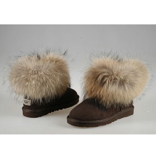 Classic Mini Fox Fur 5854 Ugg Boots - Chocolate