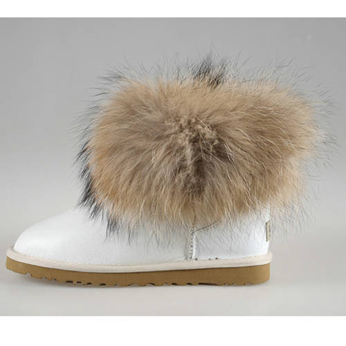 Classic Mini Fox Fur 5854 Metallic Ugg Boots - White