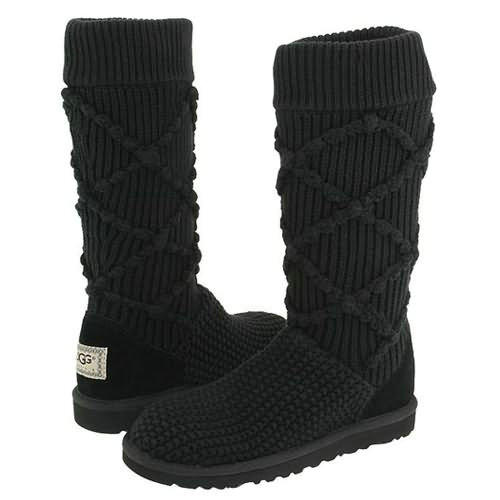 Classic Argyle 5879 Knit Style Ugg Boots - Black